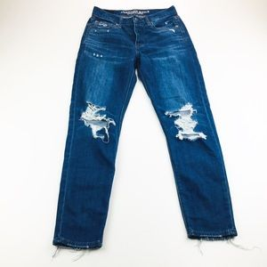 AMERICAN EAGLE HI-RISE DISTRESSED STRAIGHT JEANS